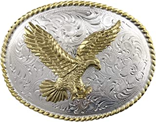 Bright Silver and Gold American Eagle Western Belt Buckle