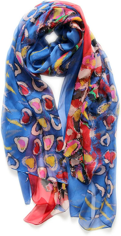 METTE Women's 100% Mulberry Silk Scarf Infinity Light Weight Long Silk Scarves