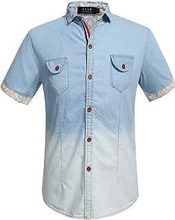 SSLR Men's Casual Short Sleeve Button Down Denim Shirt