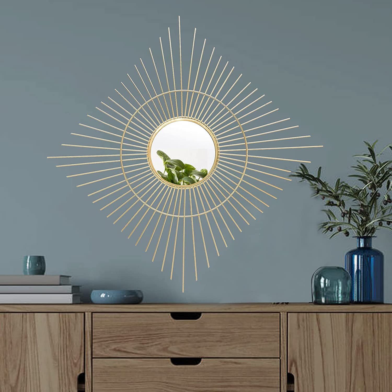 Cityelf 2021 spring and summer new Gold Wall Mirror Hanging Boho Metal Decor Wa Max 52% OFF