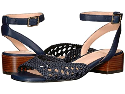 J.Crew Alice Braided Sandal with Stacked Heel (Navy) Women