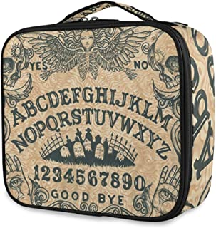Travel Makeup Case,Ouija Board ArtPortable Organizer Makeup Bag Cosmetic Train Case with Large Capacity and Adjustable Dividers for More Storage