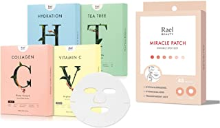 Rael Beauty Facial Mask Variety Pack (20 Count) & Acne Pimple Healing Patch (48 Patches)