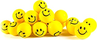 "Stress Balls for Kids and Adults - Bulk Pack of 24 2"" Stress Smile Squeeze Balls - Neon Yellow Funny Face Stress Balls"