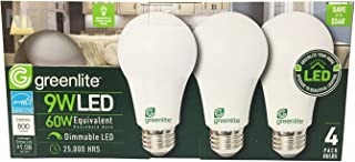 Greenlite - 4 pack - 9W LED Bulb 60W Equivalent- Dimmable A19