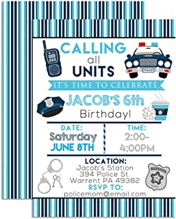 Police, Cop & Policeman Custom & Personalized Birthday Party Invitations, Twenty 5