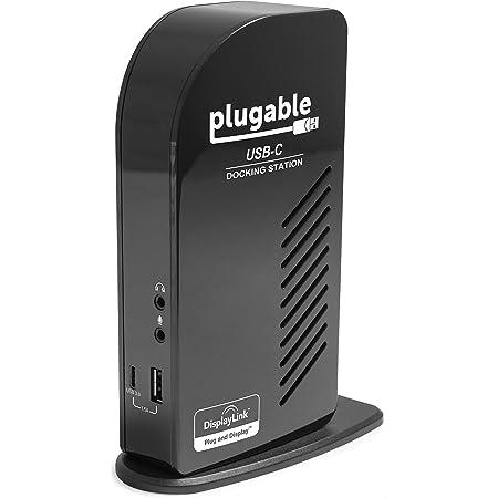 Plugable USB-C ドッキングステーション 60W 充電機能付き - HDMI DisplayPort トリプルモニター DP代替モード DisplayLink グラフィック 有線LAN イーサネット USB-C x1 USB3.0 x4