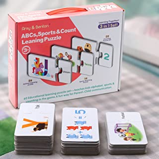Amy & Benton 3 in 1 Educational Puzzles 60PCS for Kids/Boys/Girls - Number Counting Alphabet Spelling Sports Matching Learning Puzzles for Age 3 4 5 Up-2 8 Year Old Preschool Toddler Toys Gift Set