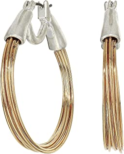 Two-Tone Small Wire Hoop Earrings