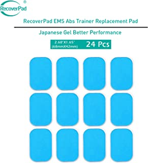 RecoverPad 24 Pads of EMS Abs Trainer Replacement Japanese Made Gel Sheet for Muscle Abdominal Ab Trainer Stimulator Gel Pads Accessories