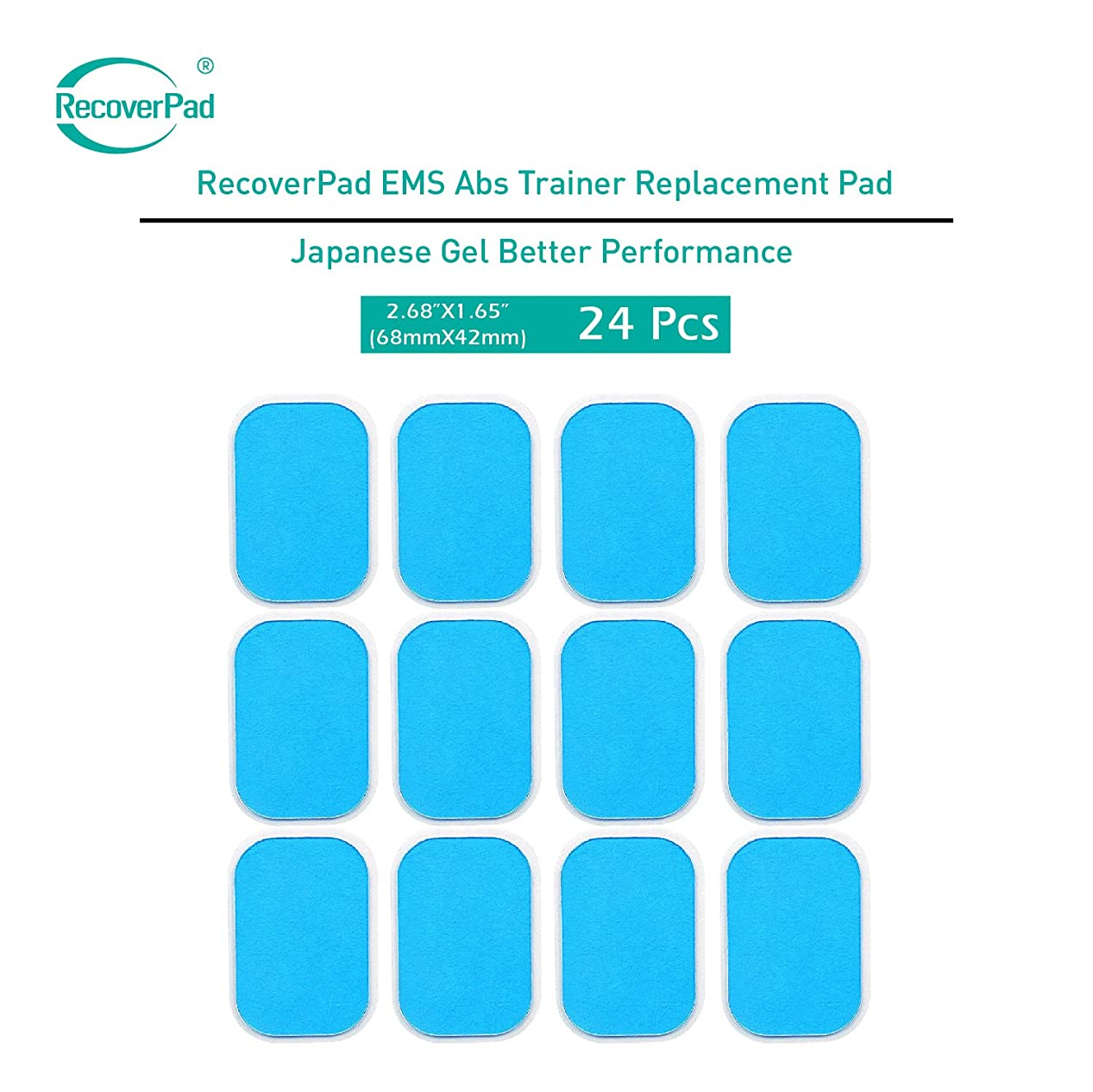 鉛フィクション不道徳RecoverPad 24 Pads of EMS Abs Trainer Replacement Japanese Made Gel Sheet for Muscle Abdominal Ab Trainer Stimulator Gel Pads Accessories