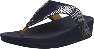 FITFLOP Womens Lottie Chain Print Leather Toe Post Thong Sandals