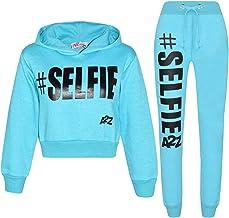 Kids Girls Tracksuit Designer #Selfie Hooded Crop Top Bottom Jog Suit 5-13 Years