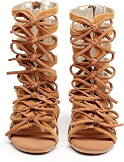 cb657455ff1751 Children Girls Roman Zipper Bowknot Knee-High Gladiator Sandals Summer Boots
