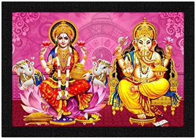 ARTAMORI Lord Laxmiji with Lord Ganesha Painting with Synthetic Frame