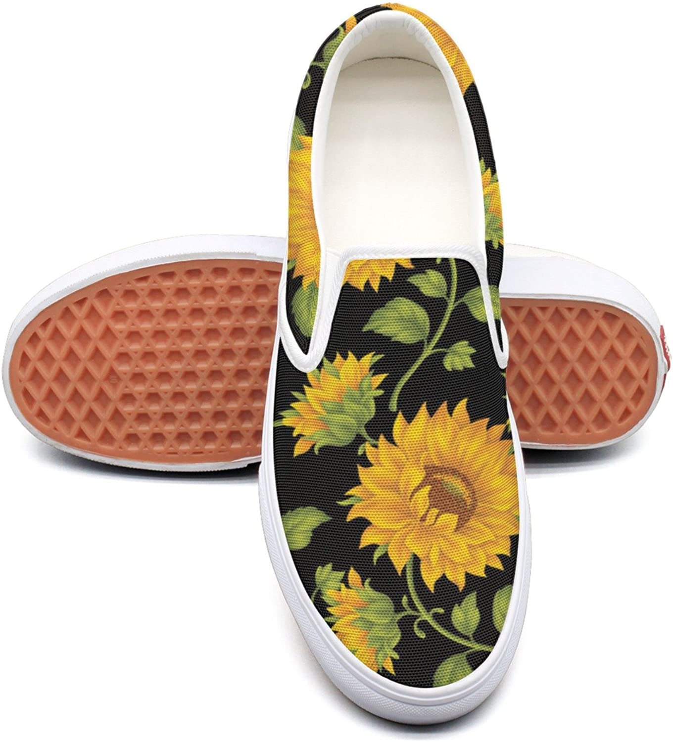 SEERTED Sunflower Floral in Black Canvas Sneakers Women