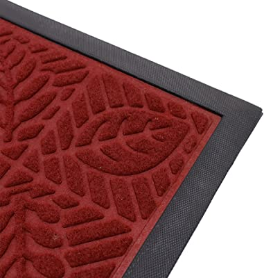 Outdoor Indoor Entrance Doormat, Super Absorbs Mud Latex Backing Non Slip Door Mat Entrance Waterproof Rugs Dirt Debris Mud Trapper Carpet for Patio Porch (Red)