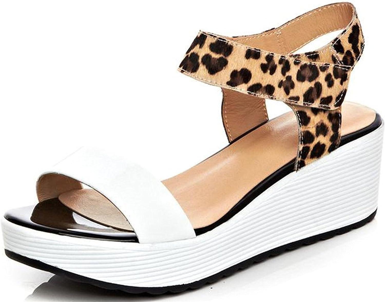 Garyline Womens Open Toe Two-Tone Leopard Wedge Platform Sandals Ankle Strap Flat Sandals