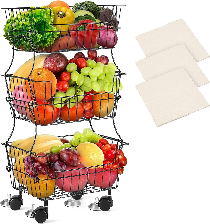 Metal Wire Basket with Wheels, 3-Tier Stackable Storage Baskets Rolling Utility Cart, Black Fruit Vegetable Storage Cart, Storage Organizer Rack for Kitchen Pantry Closet Bedroom Bathroom