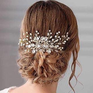 Handcess - Pettine per capelli da sposa, con perle argentate, accessorio per capelli da sposa per donne e ragazze (oro)