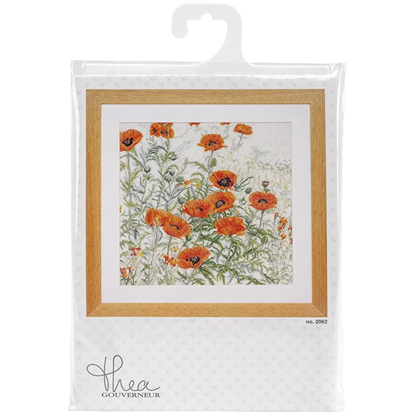 Thea Gouverneur 16 Count Orange Poppies on Aida Counted Cross Stitch Kit, 17.75 x 18.5