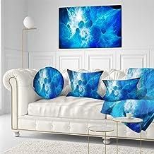 ورق حائط فني رقمي مزخرف بالأزهار PT8110-40-20 من Designart مطبوع عليه صورة دخان زرقاء كسورية مطبوعة على القماش، مقاس 40x20