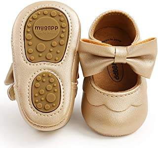 TIMATEGO Baby Girl Mary Jane Flats Shoes Non Slip Soft Sole Infant Toddler First Walker Wedding Princess Dress Crib Shoes
