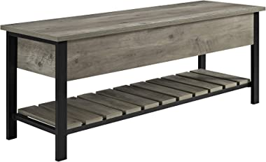 Walker Edison Julian Rustic Farmhouse Lift Top Entry Bench with Bottom Rack, 48 Inch - Grey