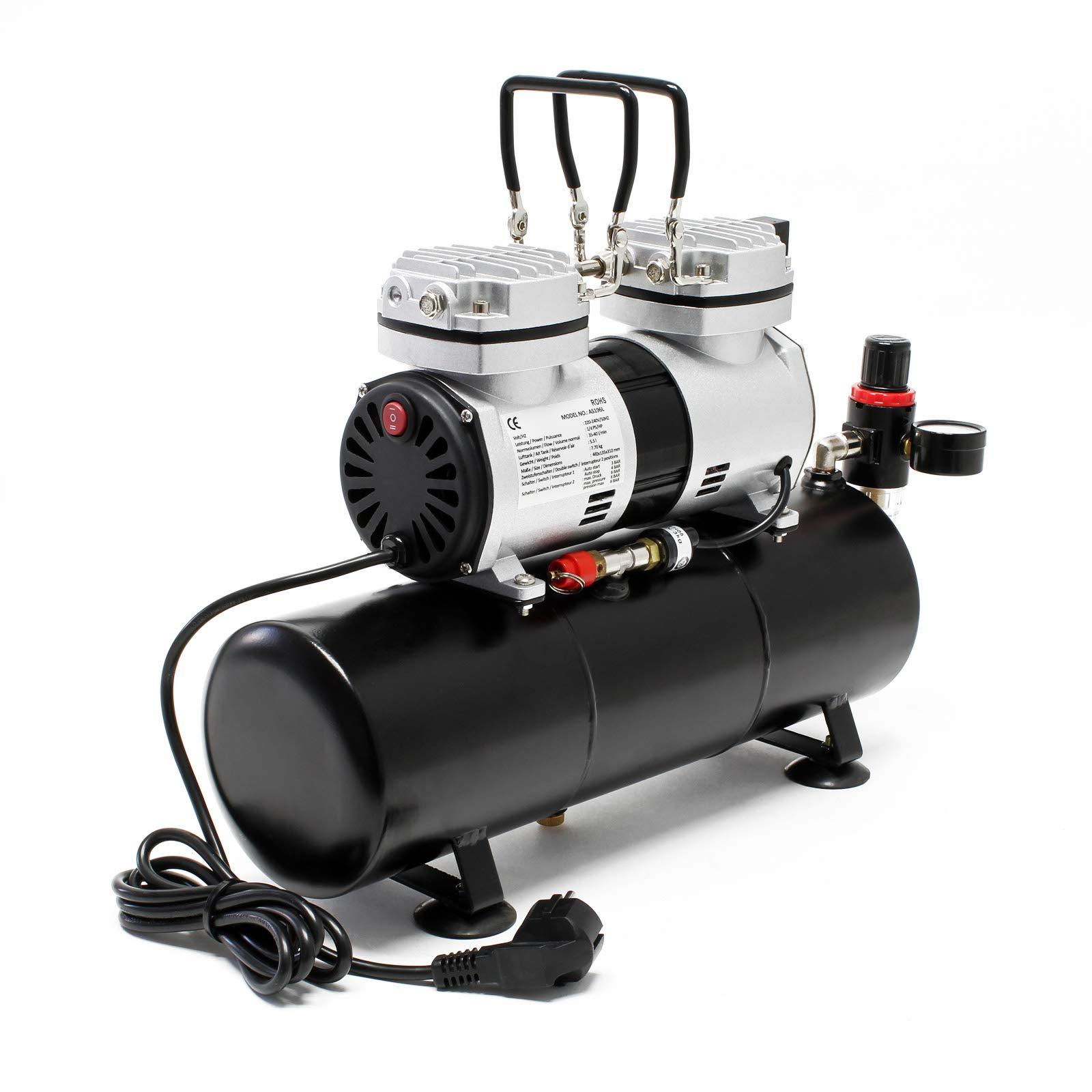 Compresor aerograf/ía HS-196L Tanque aire Regulador presi/ón OnOff autom/áticos Aer/ógrafo Modelismo