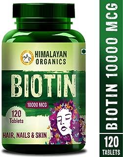 Himalayan Organics Biotin 10000mcg for Hair Growth Tablets - 120