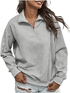 Comaba Womens Outwear Long Sleeve Corduroy Fall Winter Relaxed Tees Top