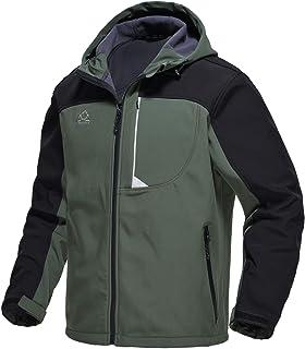 TBMPOY Men's Hooded Softshell Jacket Waterproof Mountain Ski Hiking Hunting Outerwear Fleece Lined Winter Coat