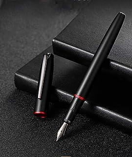 Picasso 916 Matte Black & Red Ring Fountain Pen with Gift Box - Titanium Gray Extra Fine Nib