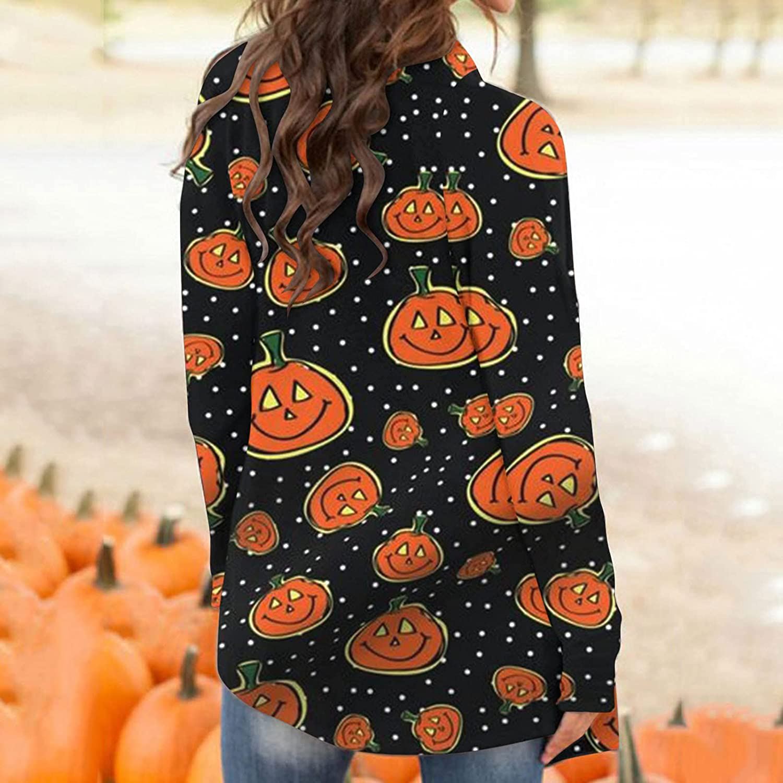 BABAKE Women Long Sleeve Shirts,Women's Halloween Long Sleeves Cardigan Funny Cat Pumpkin Print Open Front Knit Sweaters Fashion Autumn Coat Outwear Blouses Black