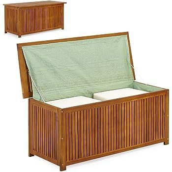 SSITG Arcón de madera, baúl de madera, baúl para cojines, jardín, baúl para cojines: Amazon.es: Hogar