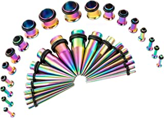 36PCS Ear Gauge Stretching Kit Stainless Steel Tapers and Plugs Set Eyelet 14G-00G