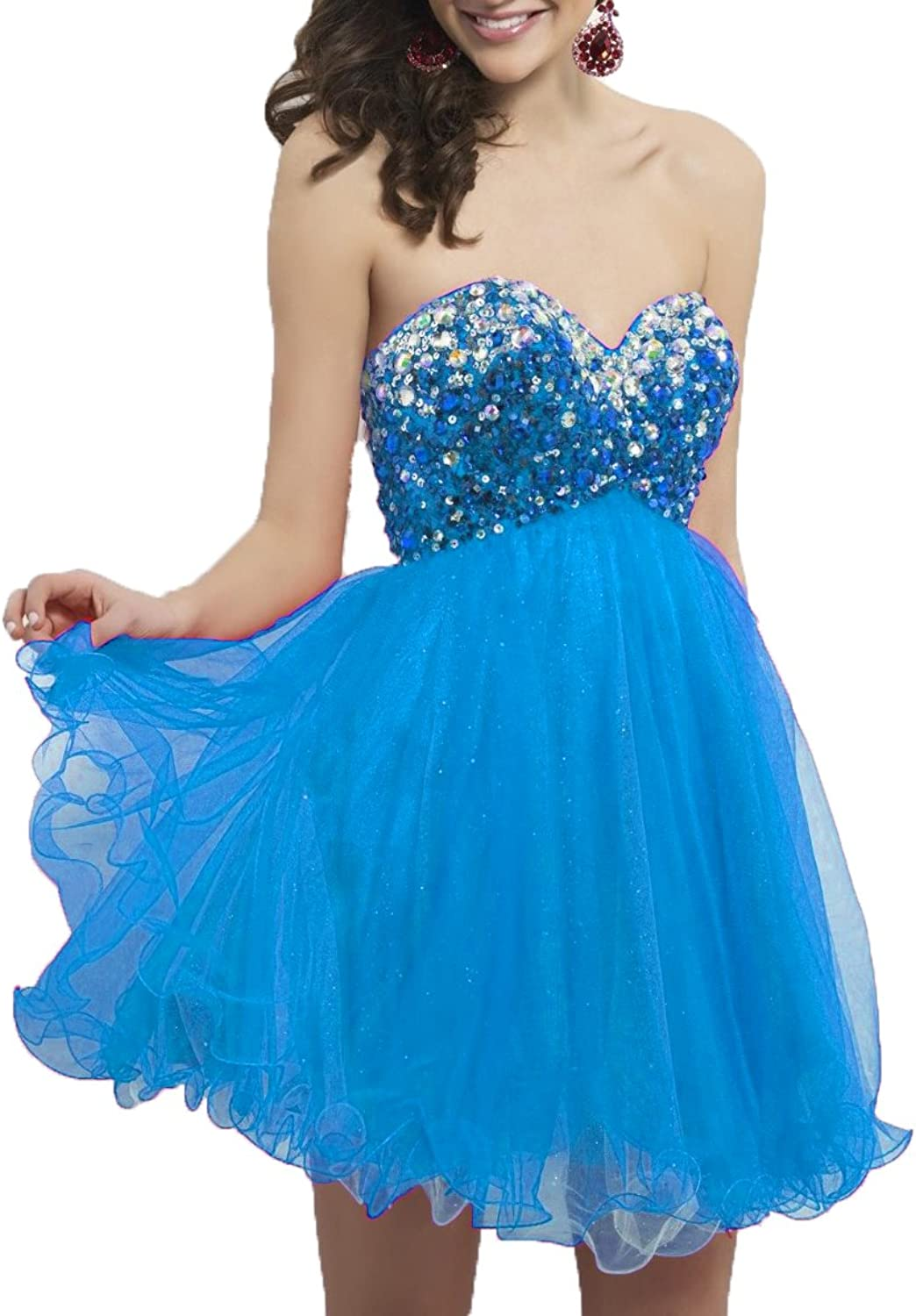 DKBridal Women's Sweetheart Beads Sequins Homecoming Dress Tulle Short Evening Prom Party Gown