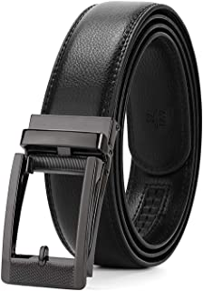 WERFORU Leather Ratchet Belt for Men Perfect Fit Waist Size Up to 50 Inches with Automatic Buckle