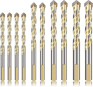 QLOUNI 10 PCS Masonry Drill Bit Set Tungsten Carbide Tipped Ceramic Tile Drill Bits Twist Drill for Concrete Brick Glass Plastic and Wood Assorted Size 6/8/10/12mm