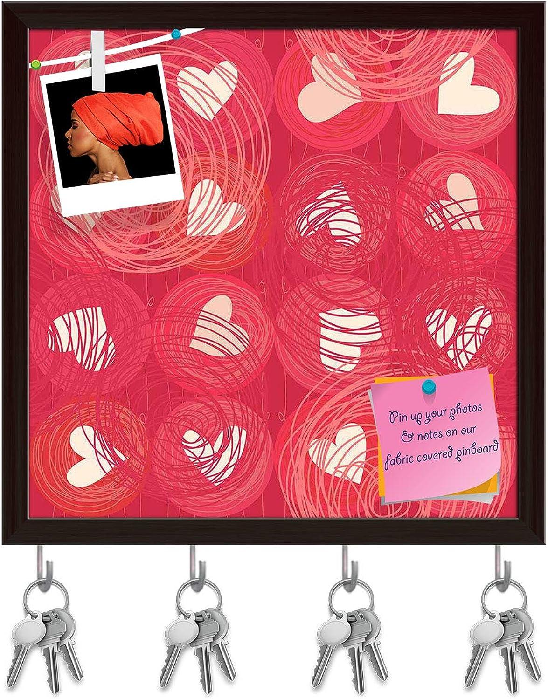 Artzfolio Doodle Hearts D3 Key Holder Hooks   Notice Pin Board   Dark Brown Frame 20 X 20Inch