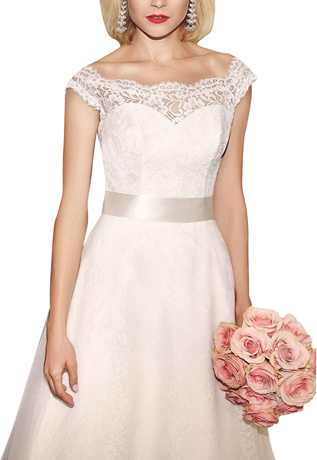 ModeC A Line Elegant Scoop Neck Lace Bridal Wedding Dress with Buttons