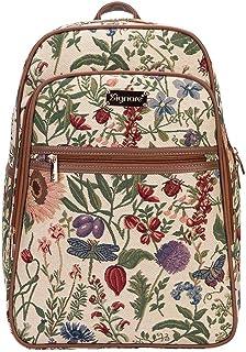 Signare Tapestry Stylish Rucksack Backpack Book Bag with Front Pocket in Morning Garden (BKPK-MGD)
