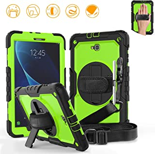 DUNNO Samsung Galaxy Tab A 10.1 Case - Heavy Duty Rugged Full Body with Built-in Kickstand & Built-in Screen Protector Shockproof for Galaxy Tablet SM-T580 T585 T587 (Black/Green)