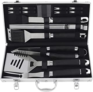 POLIGO 19PCS BBQ Grill Tools Set Stainless Steel Barbecue Grilling Accessories Set with Aluminum Case for Camping - Premium Outdoor Grill Utensil Kit Ideal Christmas Birthday Gifts Set for Dad Men