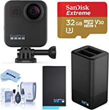 $548 » GoPro MAX Waterproof 360 Camera with Touch Screen, 5.6K30 UHD Video 16.6MP Photos Bundle with Dual Charger, Extra Battery, 32GB microSD Card, Cleaning Kit