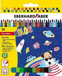 Eberhard Faber 551130 – Colori flamastry w 30 intensywnych kolorach, grubość wkładu 1 mm, zmywalne, w etui kartonowym, do ...