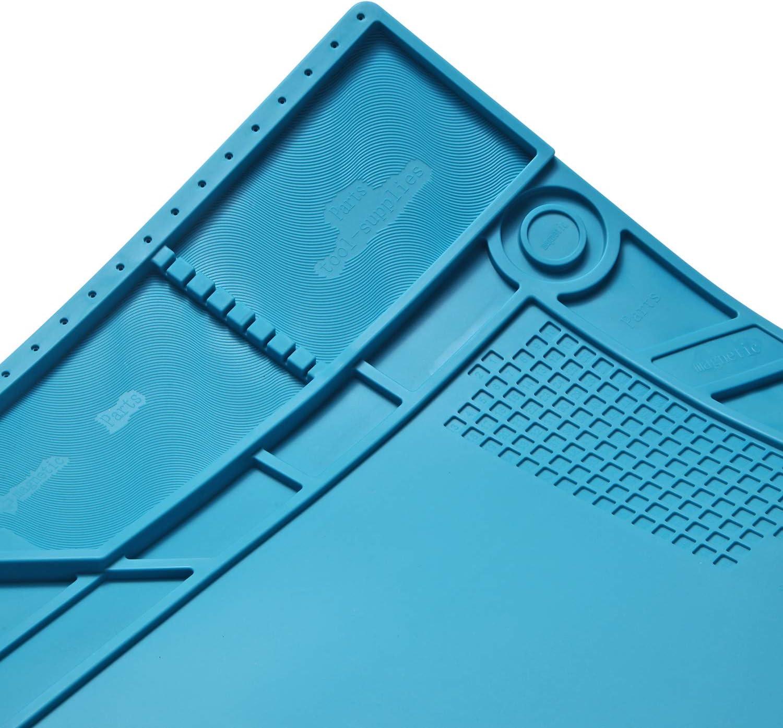 plateforme disolation pour soudure 35x25 cm S-140 r/ésistant /à la chaleur tapis de travail de r/éparation magn/étique Smilelove Tapis de travail /à souder en silicone pour circuit imprim/é