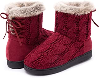 ULTRAIDEAS Women's Soft Yarn Cable Knit Bootie Slippers Memory Foam Indoor & Outdoor Shoes w/Adjustable Suede Lace