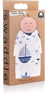 Caline Baby Müslin Bezi Örtü Gemi Desen - Mavi - 120x120 cm [4 Adet Ağız Mendili HEDİYE!!]