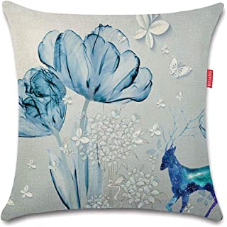 WEIANG Fundas para Cojines De Dos Caras Cojín Decorativos Floral Flores Rosa Rosa Azul Amarillo Almohadas para Casa Sofá 45x45cm